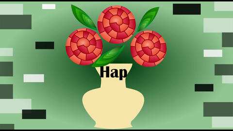 Happy birthday animated video banner, three red fantasy roses in beige vase on g