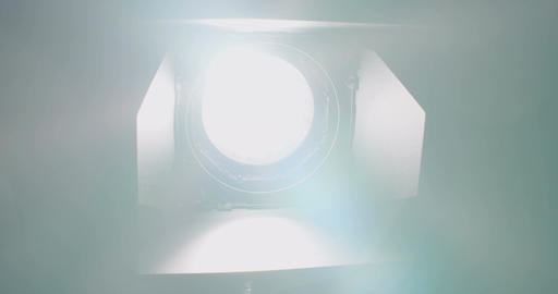Movie light turning on and facing the camera with a lens flare Footage