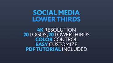 20 Social Media Lowerthirds Plantilla de After Effects