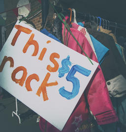Rack clothes school fete sign This rack $5 Copyspace Photo