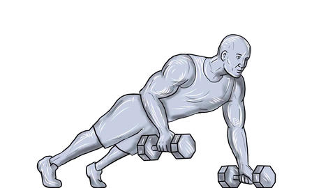 Fitness Athlete Push Up Dumbbell 2D Animation Animation
