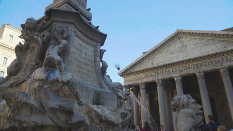 Ancient inscriptions on Pantheon fountain in Rome, historical place, tourism Footage