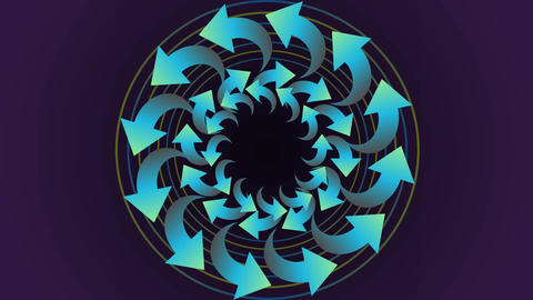 Animated circle shape composed from tree dimensional arrows, rotating, green col Animation