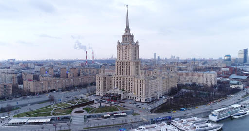 Aerial view Of Ukraina Hotel Footage