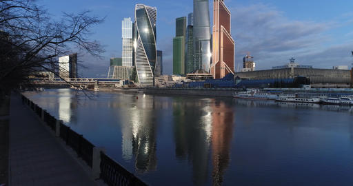 Moscow City and its reflection in the Moscow River Footage