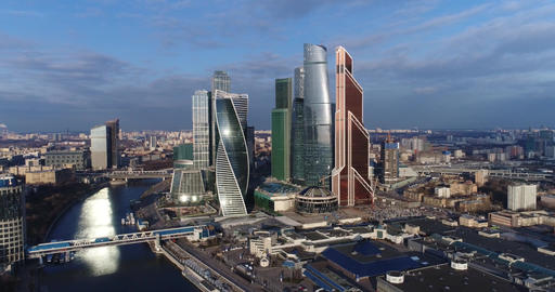Aerial view Moscow City Footage