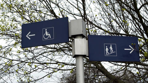 Handicapped and Non Handicapped Directional Signs Footage