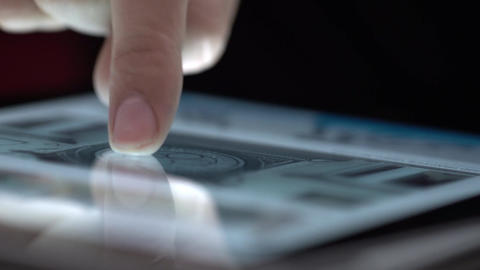 Close up of finger touching tablet Footage
