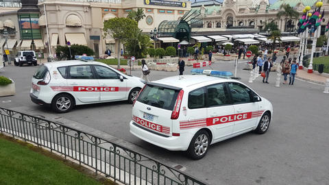Two Monaco Police Car in Monte-Carlo Monaco Footage