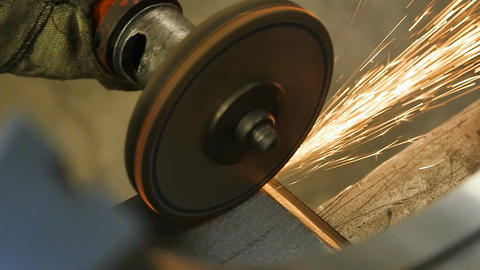Closeup Grinding Disk Operates with Detail Side with Sparks Footage