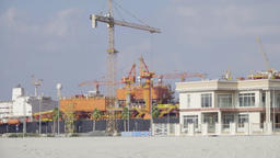 Panorama of Dubai cargo port UAE HD video. Shipping container dock crane storage Filmmaterial