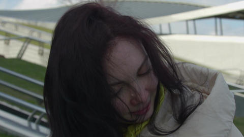 Hair in the wind Close-up Footage