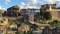 Roman Forum ancient ruins Rome Italy HD panorama video. Travel landmark Footage