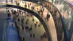 Arabian mall modern interior HD video. Shopping crowd walking at store floors Footage