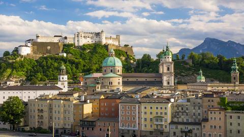 Evening Austrian Salzburg. Time Lapse