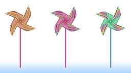 Animation of simple striped pinwheels on bars Animation