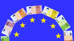 Euro currency whirling in carousel shape Animation