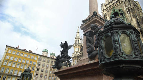 Beautiful antique column on Mary's square in Munich, Germany, architecture Footage