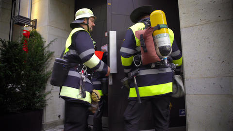 Firefighters at work, professionals checking fire alarm system in the building Footage