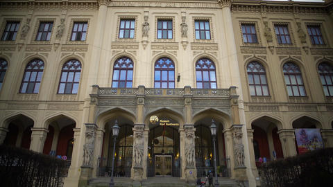 View on famous Bavarian State Museum of ethnology in Munich, sightseeing tour Footage