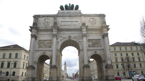 Triumphal arch crowned with statue of Bavaria and lions in Munich, Germany Footage