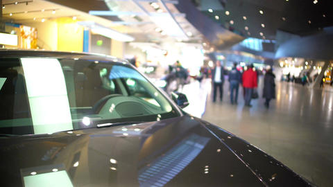 Exhibition of expensive cars, new beautiful automobiles presented in mall Footage