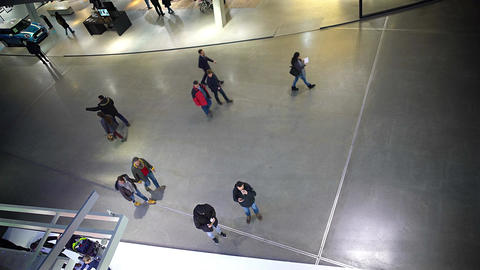 Security footage, people walking in shopping mall, surveillance system Footage