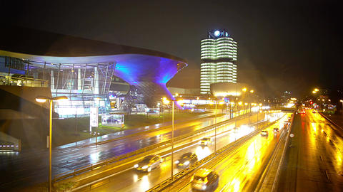 Modern cityscape, view on road and illuminated business centers, night city life Footage