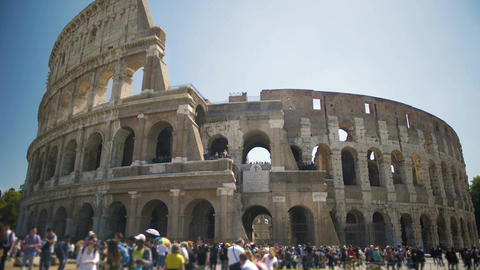 People walking near Coliseum amphitheater in the center of Rome, sightseeing Footage