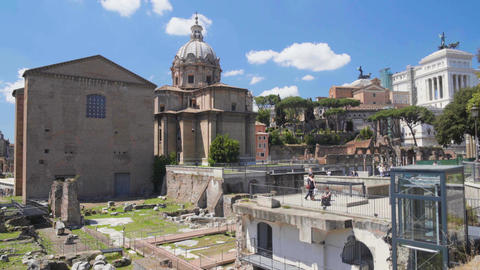 View on ancient Santi Luca e Martina church situated near Roman Forum in Italy Footage