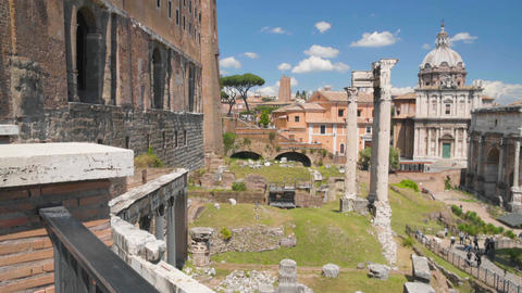 View on palace ruins and church in Roman Forum, panorama of open-air museum Footage