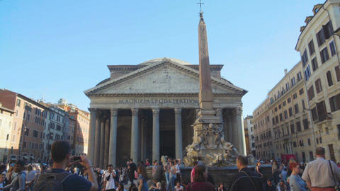 Crowd of tourists walking near Pantheon in Rome, taking pictures, sightseeing Footage
