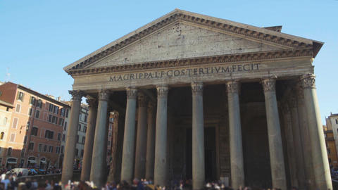 People visiting antique Pantheon church in Rome, famous touristic place Live Action