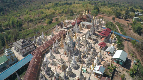Aerial view on Shwe Inn Thein Paya temple complex Footage