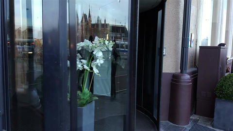 Revolving door in reception of hotel Footage