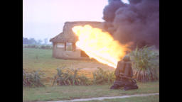 Vietnam War - Using Flamethrower To Destroy Hut 1966 Filmmaterial