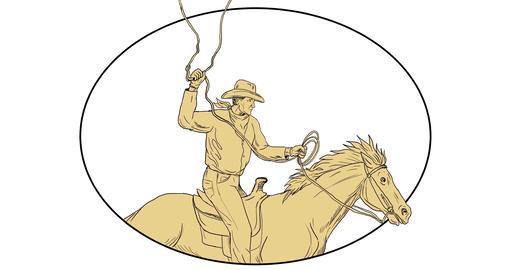 Cowboy Riding Horse Lasso 2D Animation Animation