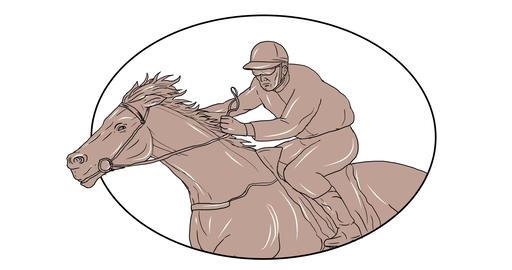 Jockey Horse Racing 2D Animation CG動画素材