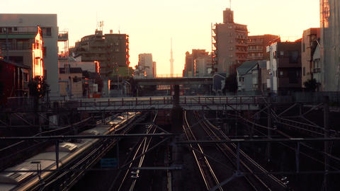 FHD 2 JAPANESE Railway Footage - Morning red - Footage