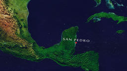 San Pedro - Belize zoom in from space Animation