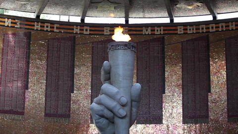 sculpture hand with torch eternal flame Footage