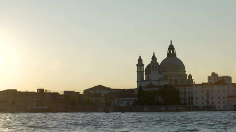 View from water at Salute church dome, famous symbol of Venice, travel to Italy Footage