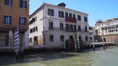 Empty moorings near old buildings, people standing in streets of Venice, Italy Footage