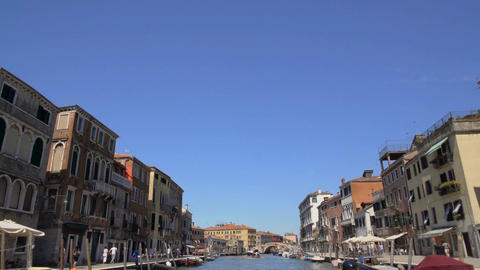 View from water bus moving along Grand Canal, sightseeing trip around Venice Footage