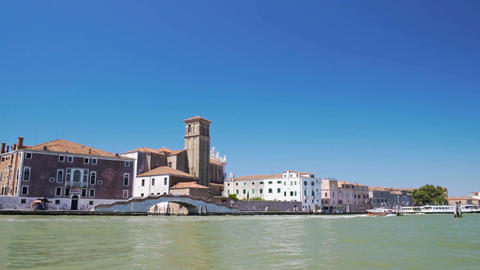 View of Grand Canal and Venetian architecture from aboard of water taxi, travel Footage