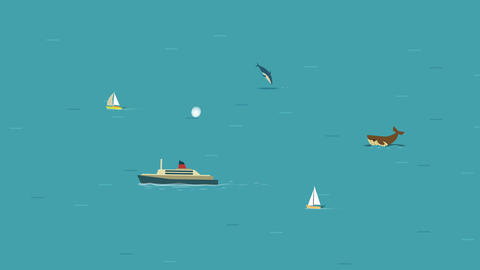 Cartoon animated ocean with ship, yachts, whale and dolphins Animación