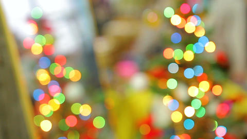 Decorative twinkling lights creating incredible holiday spirit atmosphere Footage