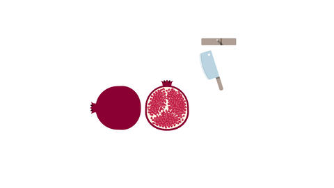 Pomegranate fruit for juice smoothies. Looped animation with alpha channel Animation