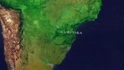 Curitiba - Brazil zoom in from space Animation