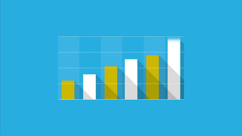 Info graphic business chart columns flat style Animation